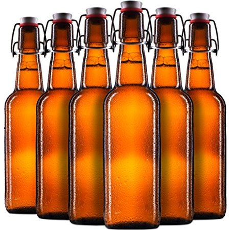 Swing Top Glass Beer Bottles 16 Oz With Zinc Plated Steel Wire And