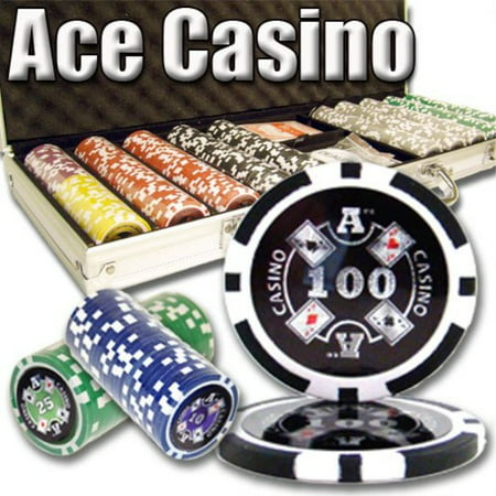 500 Count Ace Casino Poker Set - 14 Gram Clay Composite Chips with Aluminum Case, Playing Cards, & Dealer Button for Texas Hold'em, Blackjack, & Casino Games by (Texas Holdem Dealer Button)