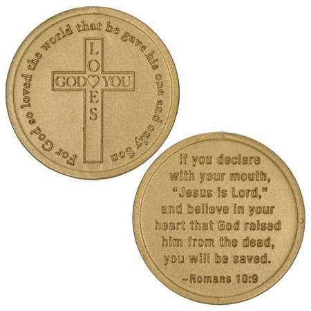 Sterling Gifts 50 Coins God Loves You, Christian - Roman's 10:19 Bags of 50 Gold