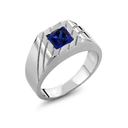 1.91 Ct Princess Blue Simulated Sapphire 925 Sterling Silver Men's Ring Princess Blue Sapphire Ring