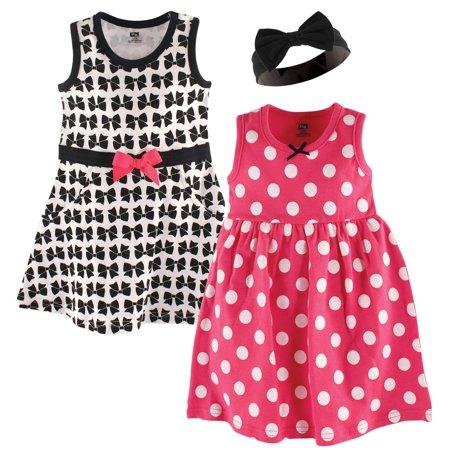 Girls Sleeveless Poplin Dress (Girl Sleeveless Dress 2-Pack and Headband)