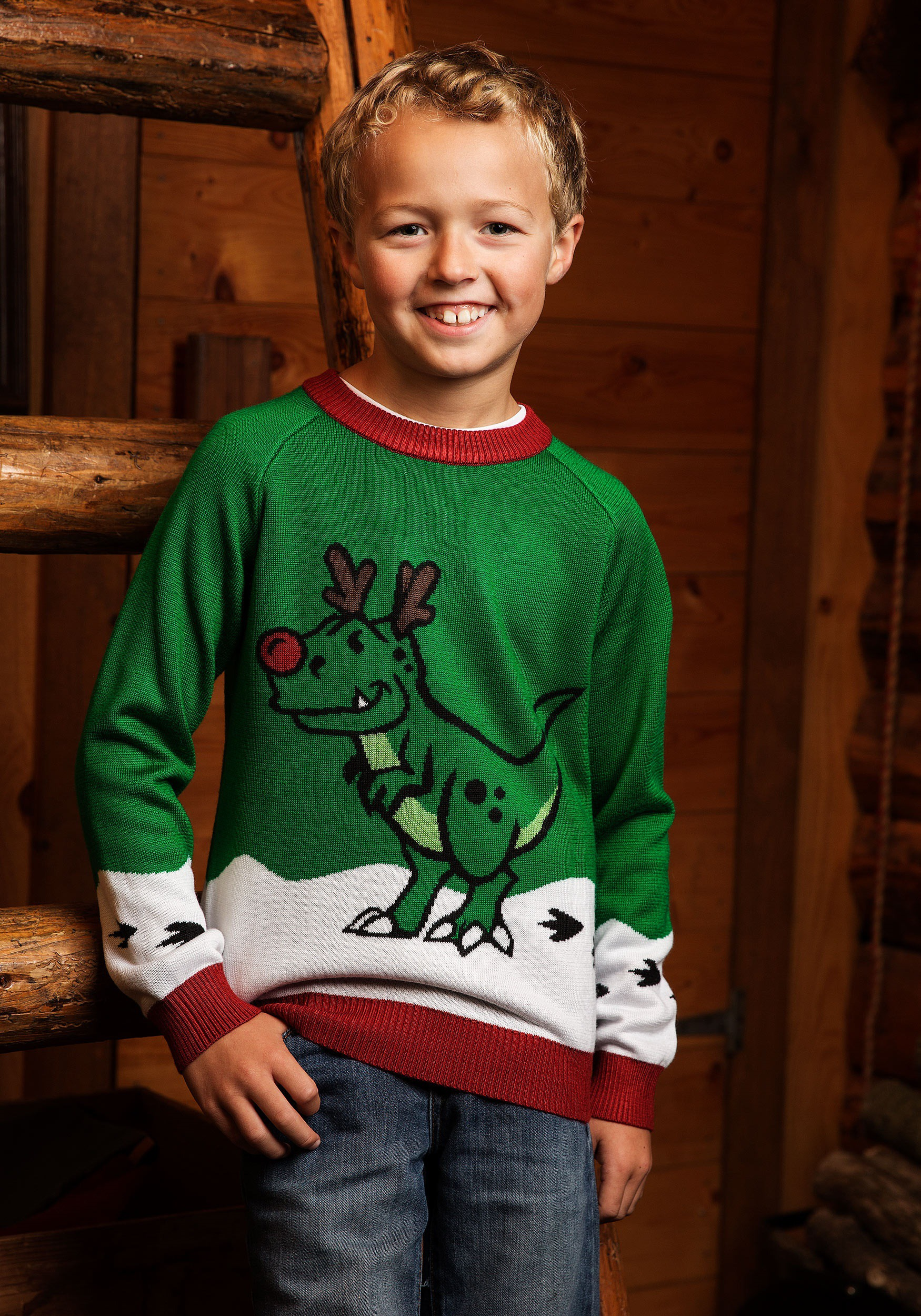 Boys Reindeer Dinosaur Sweater
