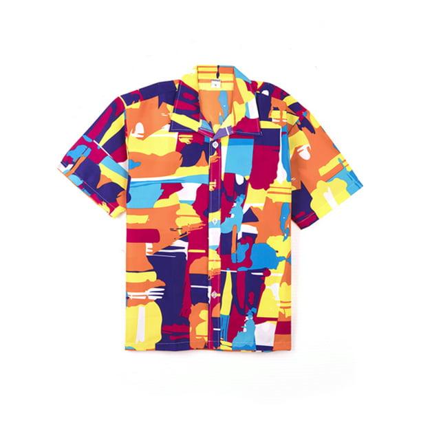 LELINTA Mens Casual Button-down Shirts Hawaiian Shirt Short Sleeve Shirt Beach Party Flower Shirt Holiday Casual Shirts
