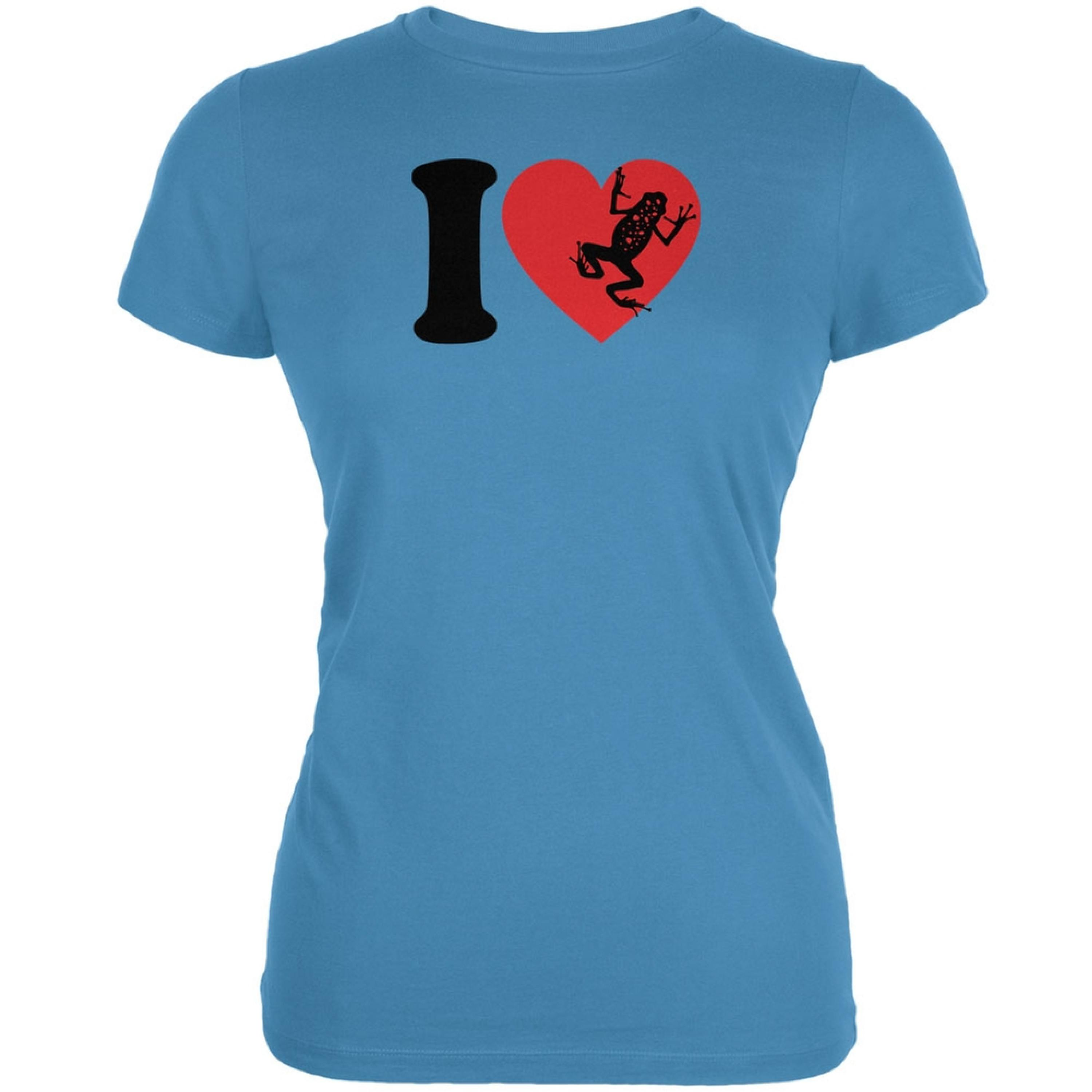 I Heart Love Poison Dart Frog Frogs Aqua Juniors Soft T-Shirt