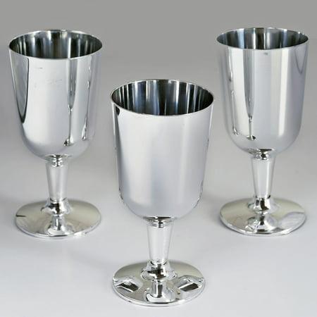 BalsaCircle 11 pcs 7 oz. Disposable Plastic Wine Glasses Silver by