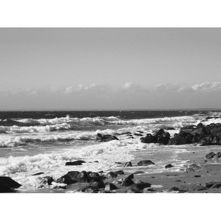 Buy Art For Less 'Photo of Black and White Waves Beach Scene' Joseph Condon Photographic Print on Wrapped - Emoji Beach Scene