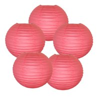 """Just Artifacts 10"""" Hot Pink Paper Lanterns (Set of 5) - Decorative Round Paper Lanterns for Birthday Parties, Weddings, Baby Showers, and Life Celebrations"""