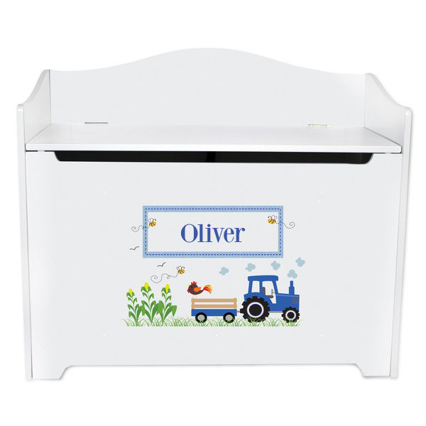 Personalized Toy Box Bench with Blue Tractor Design