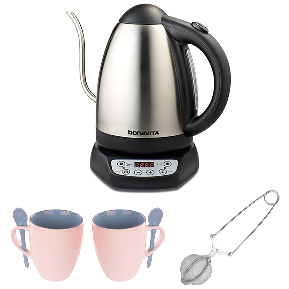 Bonavita 1.7 Liter Digital Electric Kettle with 2 Mugs + Mesh Tea Ball Infuser by Bonavita
