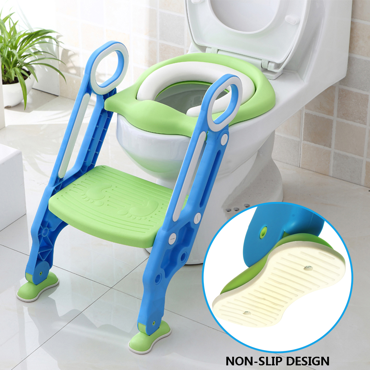 Trainer Toilet Potty Soft Padded Seat Chair Kids Toddler + Ladder Step Up Stool by