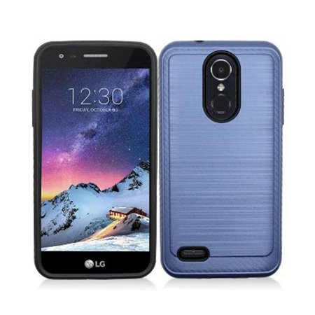For LG Aristo-3, LG Aristo 3 Phone Case, Tribute Empire Case, X220 Case  Shockproof Brush Dual Layered Cover (Brush Blue)