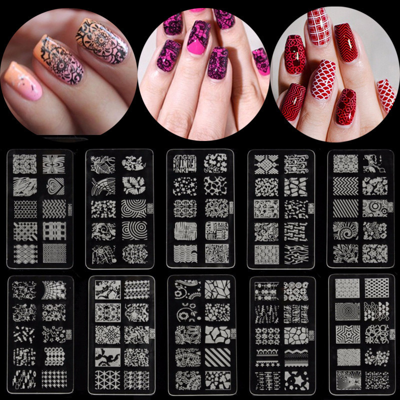 Nail Art Polish Manicure Image Stamping Template Plate Scraper DIY Manicure Kit,DXE10 color