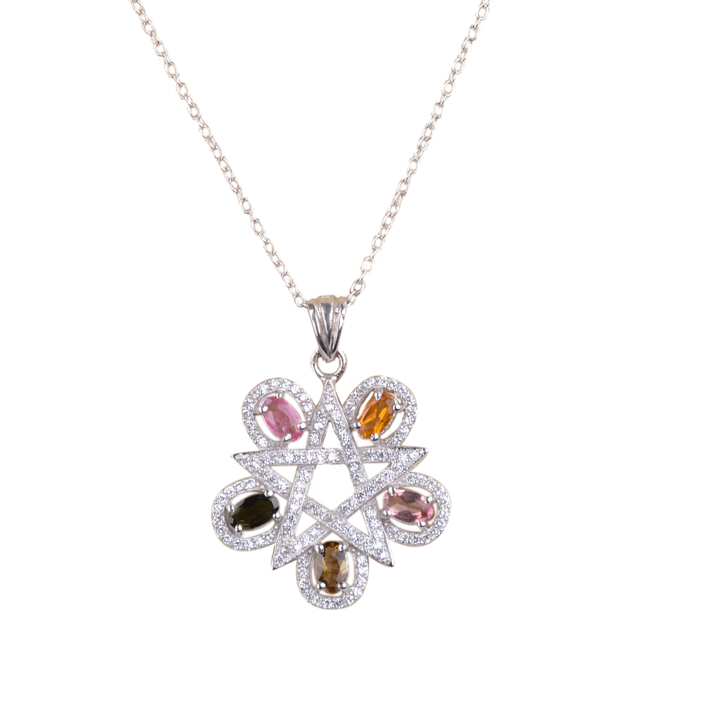 Pave Star-Shape Sterling Silver Pendant Necklace with 5 Multi-Colored Oval Tourmaline Stones, 17.7� by Most Will