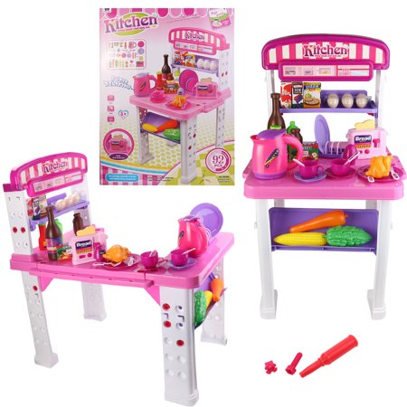 Happy Chef\'s Gourmet Kitchen Cooking Pretend Play Set for Kid\'s /  Children\'s Educational Pretend Play with Food, Cups, Utensils, Pots and Pans