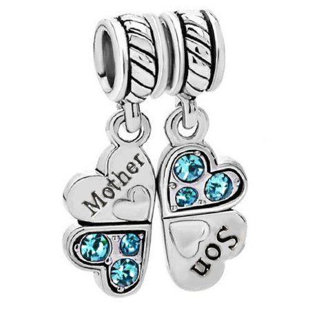 Rhinestone Silver Charm - Sterling Silver Rhinestone 'Mother Son Love' Heart European Bead Charm