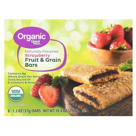 Great Value Organic Fruit & Grain Bars, Strawberry, 10.4 oz, 8 Count