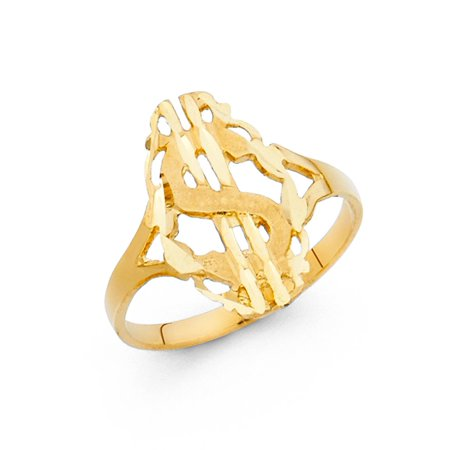 Genuine Womens Band (Dollar Sign Ring Solid 14k Yellow Gold Money Band Polished Finish Diamond Cut Genuine)