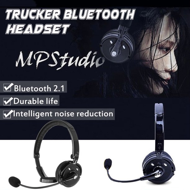 Trucker Bluetooth Headset Wireless Over The Head Noise Cancelling Office Headphone With Boom Microphone For Iphone Android Truck Driver Call Center Walmart Com Walmart Com