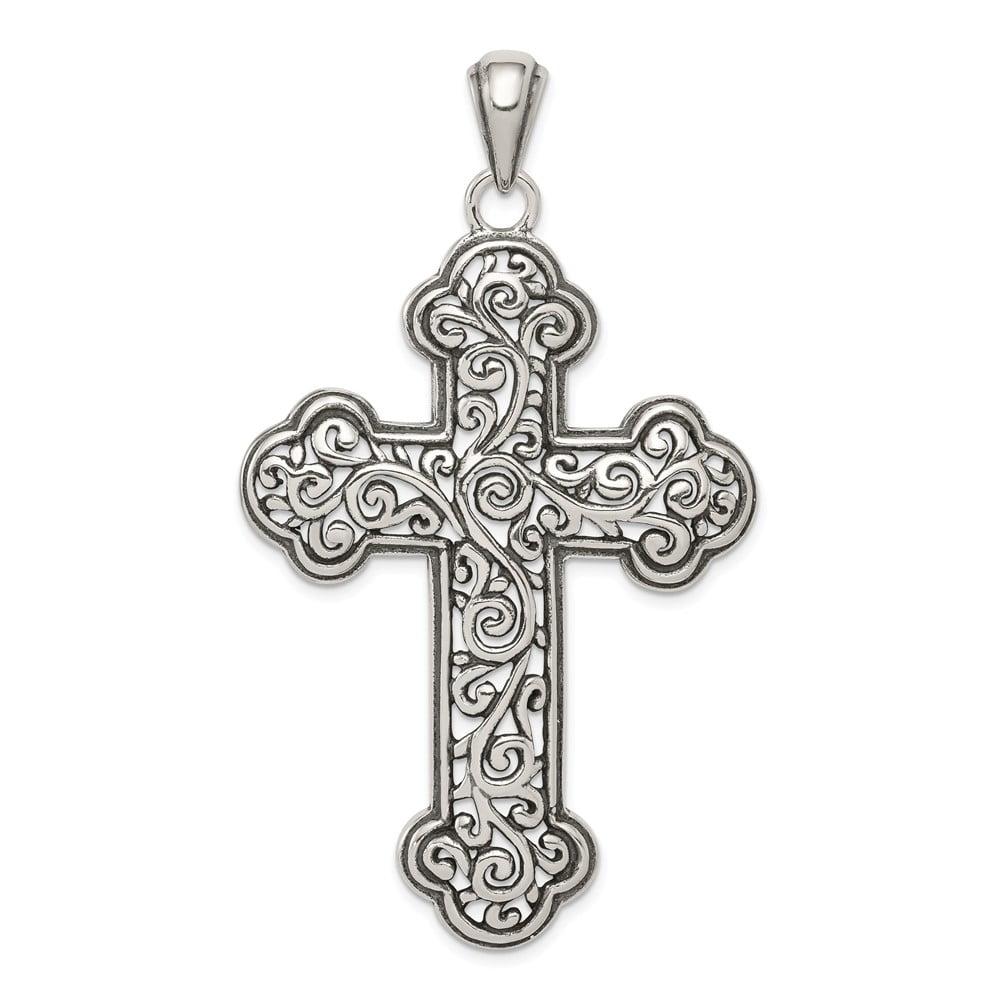 Sterling Silver Antiqued Swirl Cross Pendant