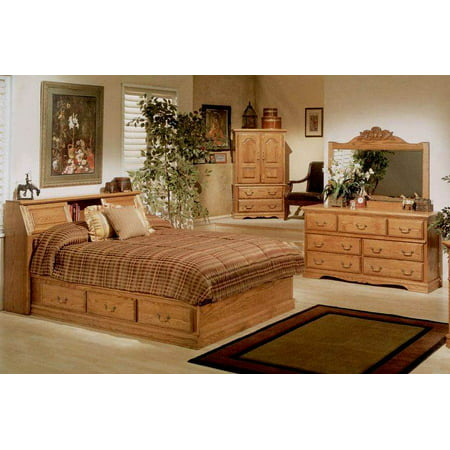 4 pc pier bookcase headboard bedroom set queen. Black Bedroom Furniture Sets. Home Design Ideas
