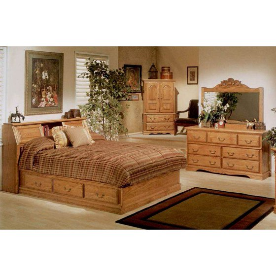 4 Pc Pier Bookcase Headboard Bedroom Set (Queen)