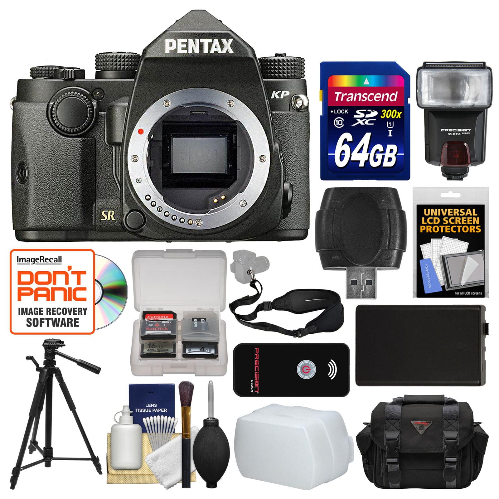 Pentax KP Wi-Fi Digital SLR Camera Body (Black) with 64GB Card + Case + Flash + Battery + Tripod + Remote +... by Pentax