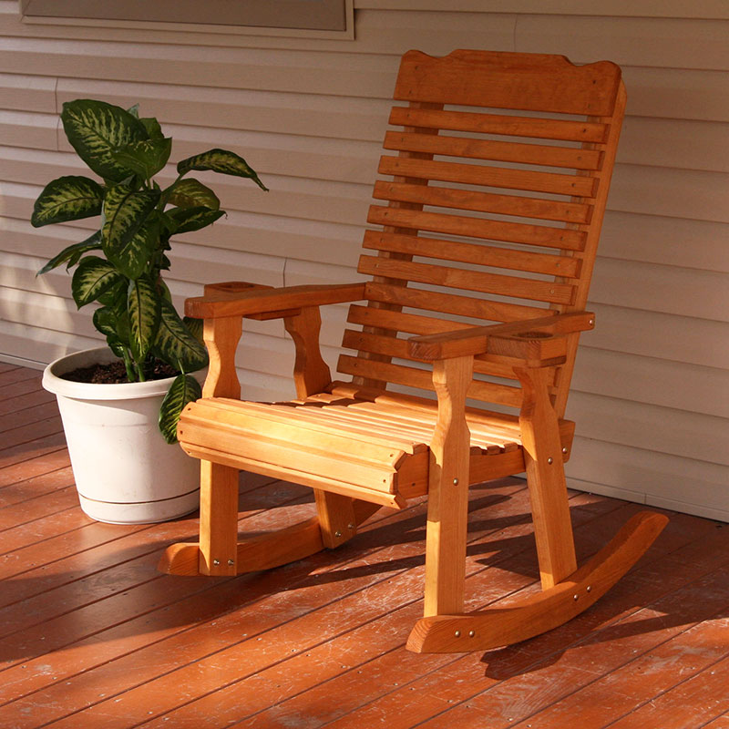 Amish Heavy Duty 600 Lb Classic Pressure Treated Rocking Chair With Cupholders (Cedar Stain)