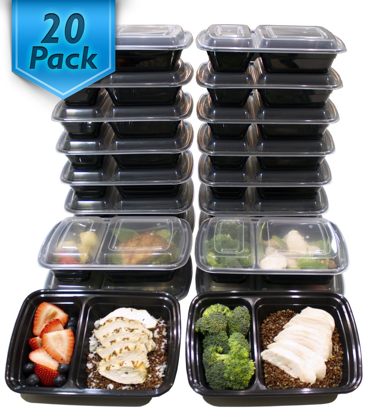 [20 Pack] Misc Home 32 Oz. 2 Compartment Meal Prep Containers BPA Free Reusable Food Storage Containers... by Misc Home Inc.
