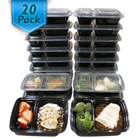 Elite Portion Control - [20 Pack] Misc Home 32 Oz. 2 Compartment Meal Prep Containers BPA Free Reusable Food Storage Containers Microwave & Dishwasher Safe For Portion Control & Bento Box Lunch Box