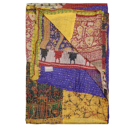Bloomsbury Market Arguelles Eclectic Quilted Kantha Silk Throw