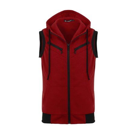 Hood Vest Set (Men Kangaroo Pocket Zip Up Drawstring Hooded Vest Burgundy XL)