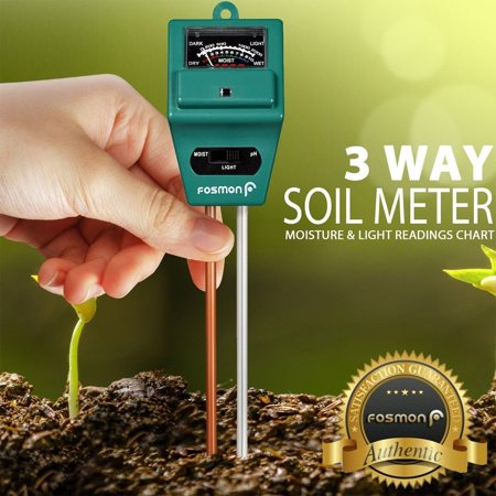 Soil Tester Meter, Fosmon 3-in-1 pH Meter, Soil Sensor for Moisture, Light, & pH Level Measurement for Growning Garden, Lawn, Farm, Plants, Flowers, Vegetable, Herbs &