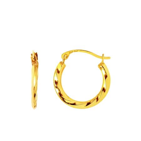 - 10K Yellow Gold Ladies Small Twist Hoop Earrings 15mm