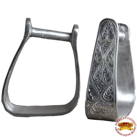 Hilason Western Tack Horse Engraved Aluminium Angled Stirrups - Halloween Horse Tack