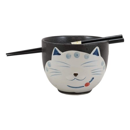 Ebros Whimsical Ceramic Black Lucky Meow Cat Pasta Ramen Udong Pho Noodles Soup Bowl and Chopsticks Set Dining Gourmet Meal Feline Cats Collection Rice Bowls Decor Kitchen - Gourmet Halloween Meals