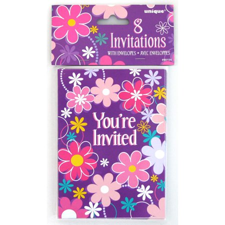Birthday Blossom Invitations, 8 Count - Golden Ticket Birthday Invitation