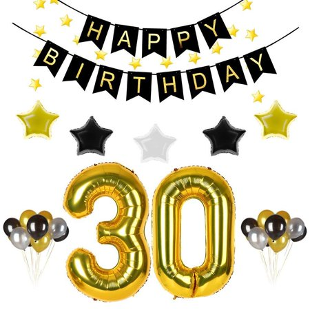 30th Birthday Party Decorations Kit Gold Black Happy Banner30th Number Balloonsgold Silver Stars30pcs Balloons