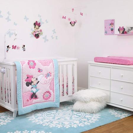 Disney Minnie Mouse 3-Piece Nursery Crib Bedding Set, Rose Pink/Bright Pink/Aqua/White ()