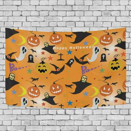 MYPOP Halloween Pumpkin Ghost Tapestry Wall Hanging Decoration Home Decor Living Room Dorm 60x51 inches - Halloween Dorm Room Decorations