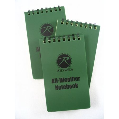 3-Pack Olive Drab Green All Weather Write in Rain Outdoor Hiking Camping Survival Spiral Notebook Notepad Pad (Light Notepad)