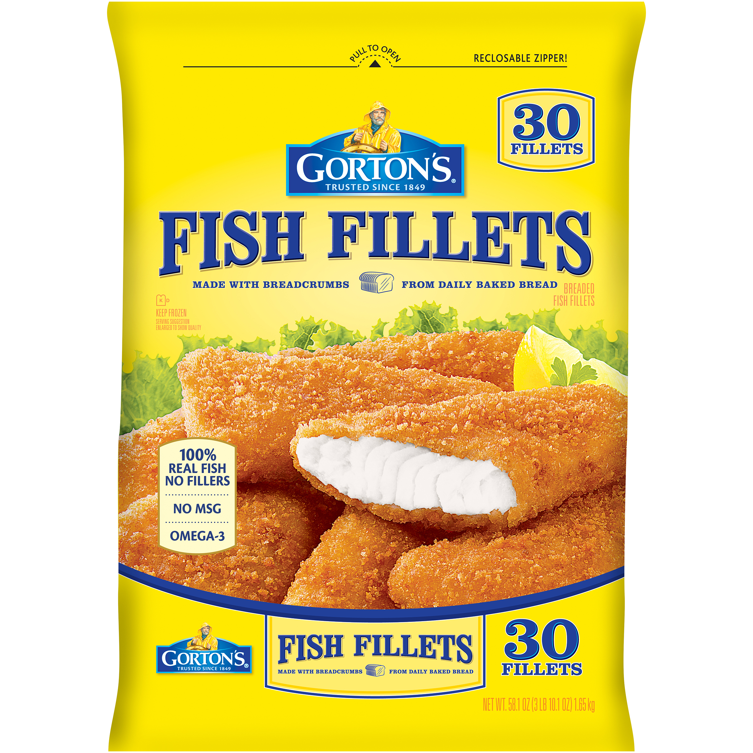 Gorton's® Crunchy Breaded Fish Fillets  58.1 oz bag