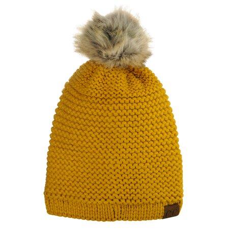 68b8f18ef67 C.C Horizontal Knit Faux Fur Pom Back Drawstring Slouch Beanie Hat ...