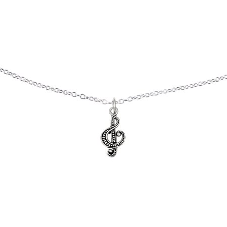 Primal Silver Sterling Silver Antiqued Music Note Charm with 18-inch Cable Chain