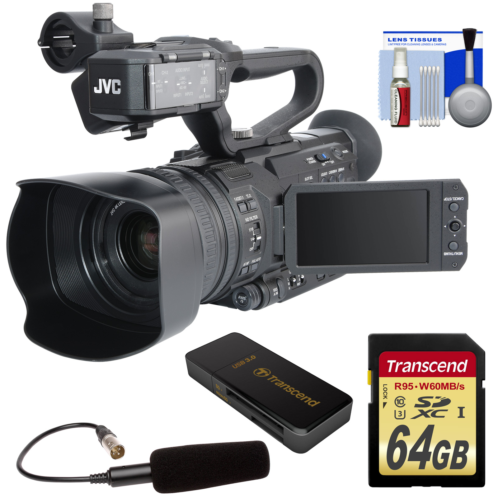 JVC GY-HM200U Ultra 4K HD 4KCAM Professional Camcorder & Top Handle Audio Unit with XLR Microphone + 64GB Card... by JVC