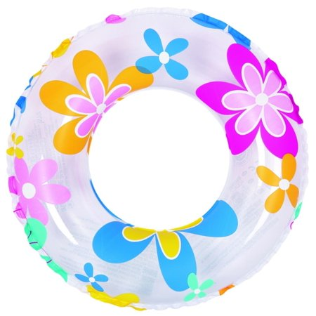 Inflatable Multicolor Flower Print Swimming Pool Inner Tube Ring Float, 24-Inch (Inflatable Ring Pool)