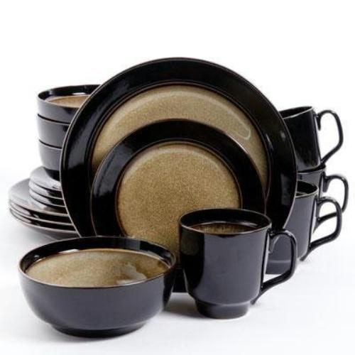 Gibson Table Ware - Dinner Plate, Dessert Plate, Soup Bowl, Mug - Stoneware - Dishwasher Safe - Microwave Safe - Taupe - Glazed (92059-16)