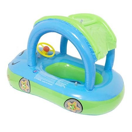 Sunshade Inflatable Swimming Pool Baby Kids Float Seat Boat Car Swim Ring Steering Wheel Summer Toys Outdoor Play (Random Blue Color) - image 2 of 12