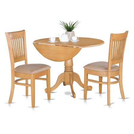 East West Furniture Dublin 3 Piece Drop Leaf Dining Table Set with Vancouver Microfiber Seat Chairs ()