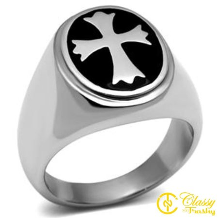 Classy Not Trashy® Men's Polished Stainless Steel Jet Epoxy Dome Shape Cross Ring, Size 9 Shape Glass Dome Ring