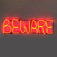 """Halloween Neon Light, Beware, 24"""""""